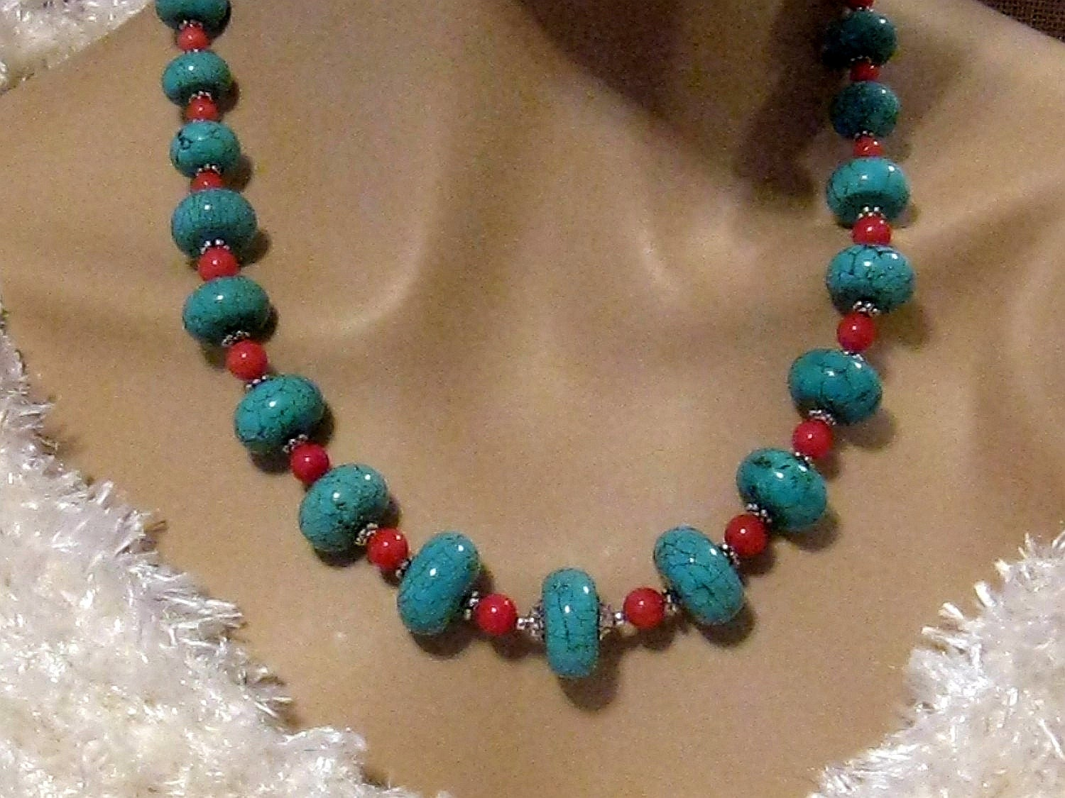 turquoise and coral necklace chunky turquoise necklace