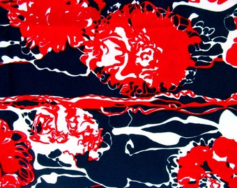 "Vintage 1960s Fabric / 60s Red White Navy Polyester Floral Print Yardage / 2 1/2 Yards 45"" Width"
