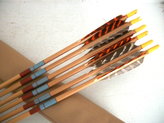 Six Vintage Arrows and Leather Quiver