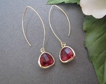 Ruby Earrings, Long Earrings, Minimalist Earrings, Minimal Earrings, Bridesmaid Earrings, Drop Earrings, July Birthstone, Gold Earrings,