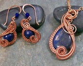 "Lapis Lazuli & Copper ""Swish"" Earring/Necklace Set"