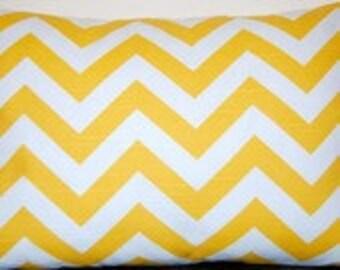 Pillow Cover Zig Zag, Toss Pillow,  corn yellow lumbar 12x16 chevron