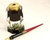 Vintage 1940s Ink Well Lucite Reversed Carved Green Rose Pen Holder