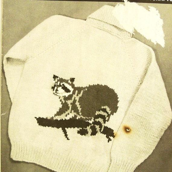 Vintage 50s Sweater Pattern Raccoon Knitting Unisex Mary Maxim 4144 Sz 38 - 44