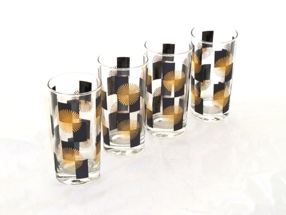Vintage 1960s Glasses Mad Men Barware Tumblers High Ball Black Gold Starburst