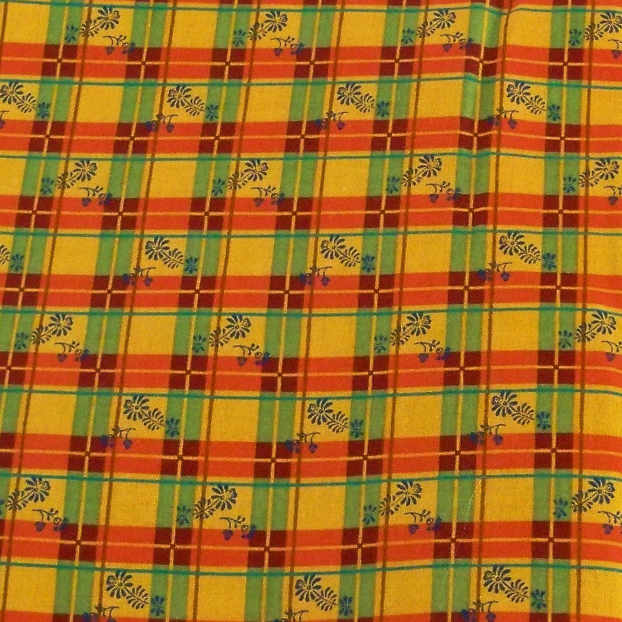 Cotton quilting fabric burnt orange green by for Cotton quilting fabric