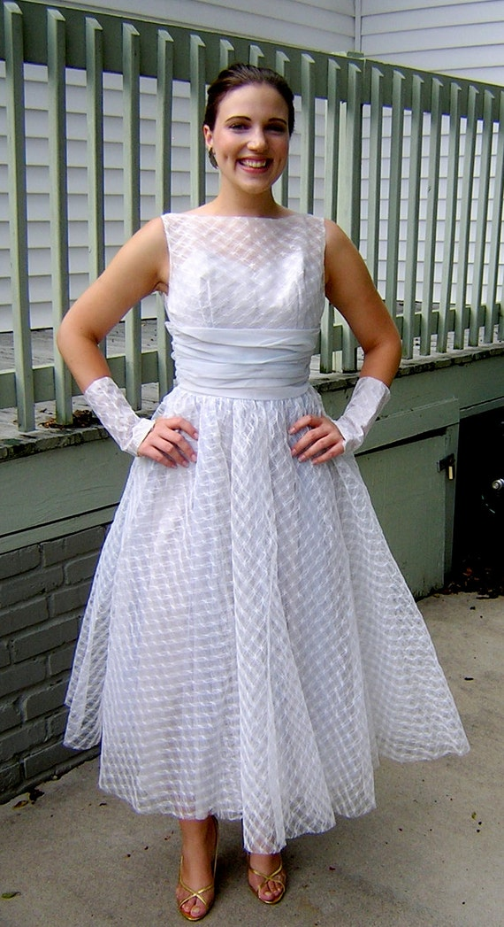 Vintage 1950s Powder Blue Princess Wedding Gown By