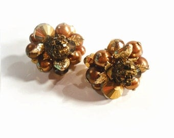 Vintage Vendome Glass Bead Crystal Earrings, Parisian Style, Brown and Gold