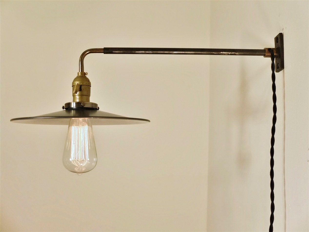 Vintage Industrial Wall Mount Light FLAT STEEL SHADE By