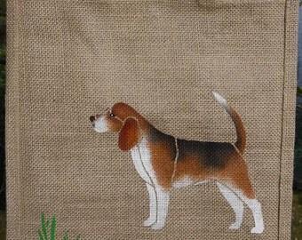 Beagle dog jute bag hand painted