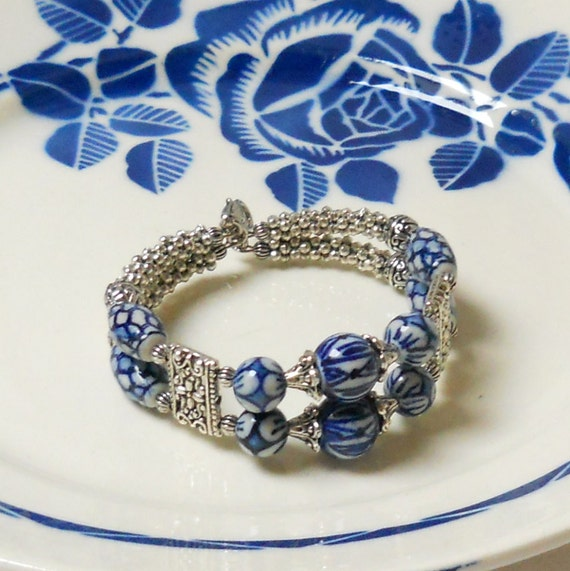 Wire Bracelets With Charms 2: Memory Wire Bracelet Delft Blue Jewelry Delft Blue Bracelet