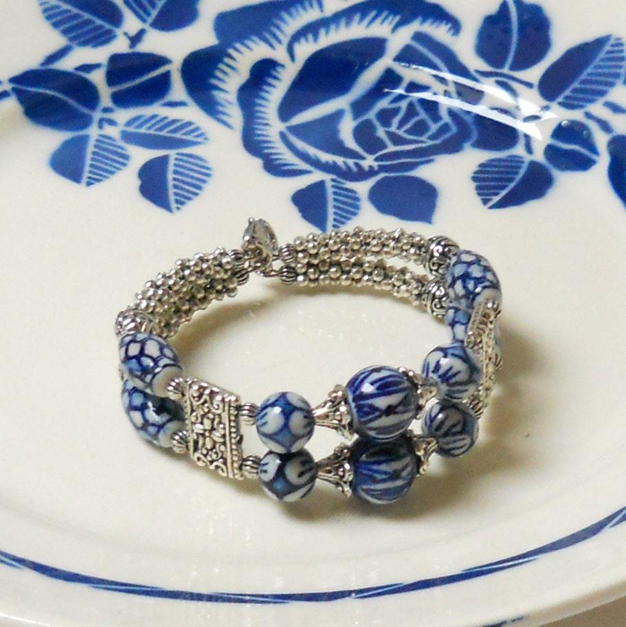 Memory Charm Bracelets: Memory Wire Bracelet Delft Blue Jewelry Delft Blue Bracelet