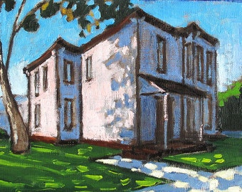 San Diego Pink Victorian House- Original Oil Painting