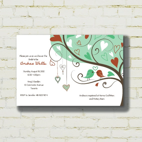 Love Birds - bridal shower/engagement party invitation - digital file