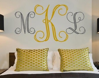 Personalized Monogram Initials Large -bedroom Vinyl Lettering wall words graphics Home decor itswritteninvinyl