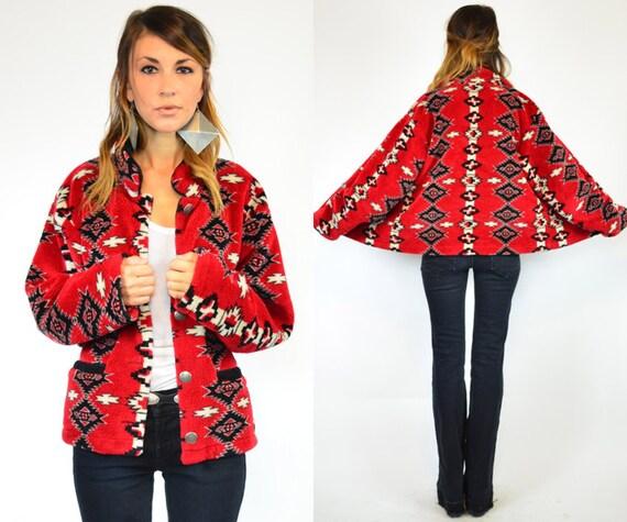 cozy red SOUTHWESTERN cropped NAVAJO geometric JACKET coat, extra small-medium