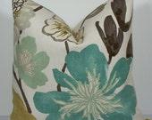 KRAVET euro sham-Floral Designer Teal pillow -Jellybean- Decorative Pillow Cover- - throw pillow -green-aqua-gray -accent pillow