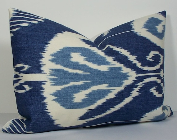 Decorative Pillow Cover - Kravet - Ikat - 14x20 - throw pillow - accent pillow - lumbar pillow - indigo - blue - winter white