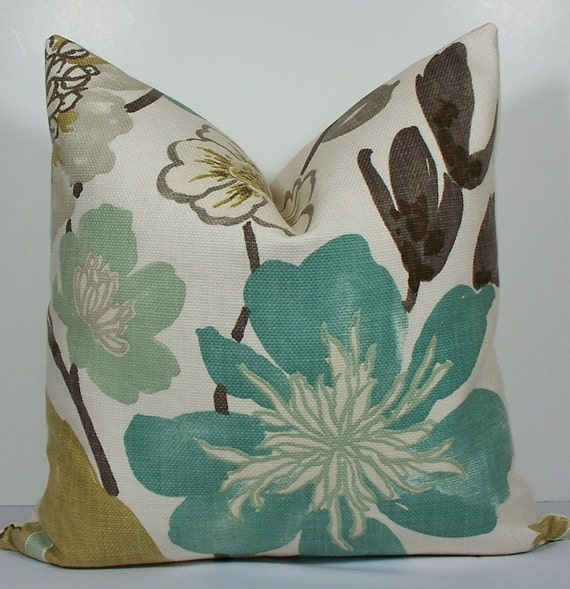Decorative Kravet teal floral EURO SHAM Pillow Cover Designer