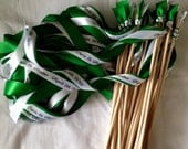 Wedding Wands - Set of 100 Double Ribbon wedding wands no bell personalized christmas ribbon you pick your colors