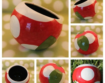 Piranha Plant Ceramic Tilted Bowl (Made to Order and Customizable)