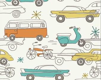 Organic Cotton Woven Vintage Cars Fabric Circa 52 Cars in Cream by Birch Organics, by the half yard or yard