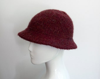 Vintage Wool Marled Knit Maroon Structured Hat. Made in Italy