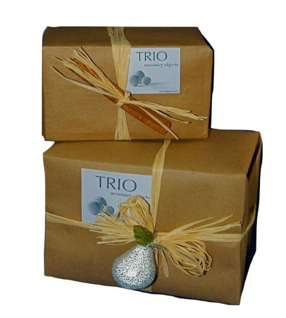 Gift Wrap- Natural Craft Paper with Raffia and Cinnamon Stick, Sparkly Pear or Apple Decoration