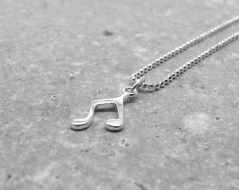 Music Necklace, Small Music Necklace, Music Jewelry, Eighth Note Necklace, Charm Necklace, Sterling SIlver Jewelry, Musical Note Necklace