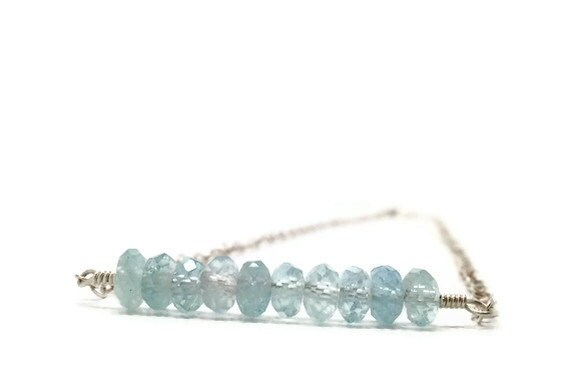 Aquamarine Necklace, Bar, Sterling Silver, Gemstone, Wire Wrapped, Handmade Jewelry, Blue