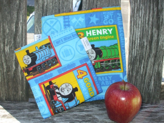 Thomas the Train Reusable Snack and Sandwich Bag Set--Blue