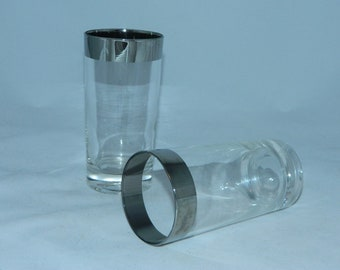vintage 1960s glasses silver band High Ball tumblers 2