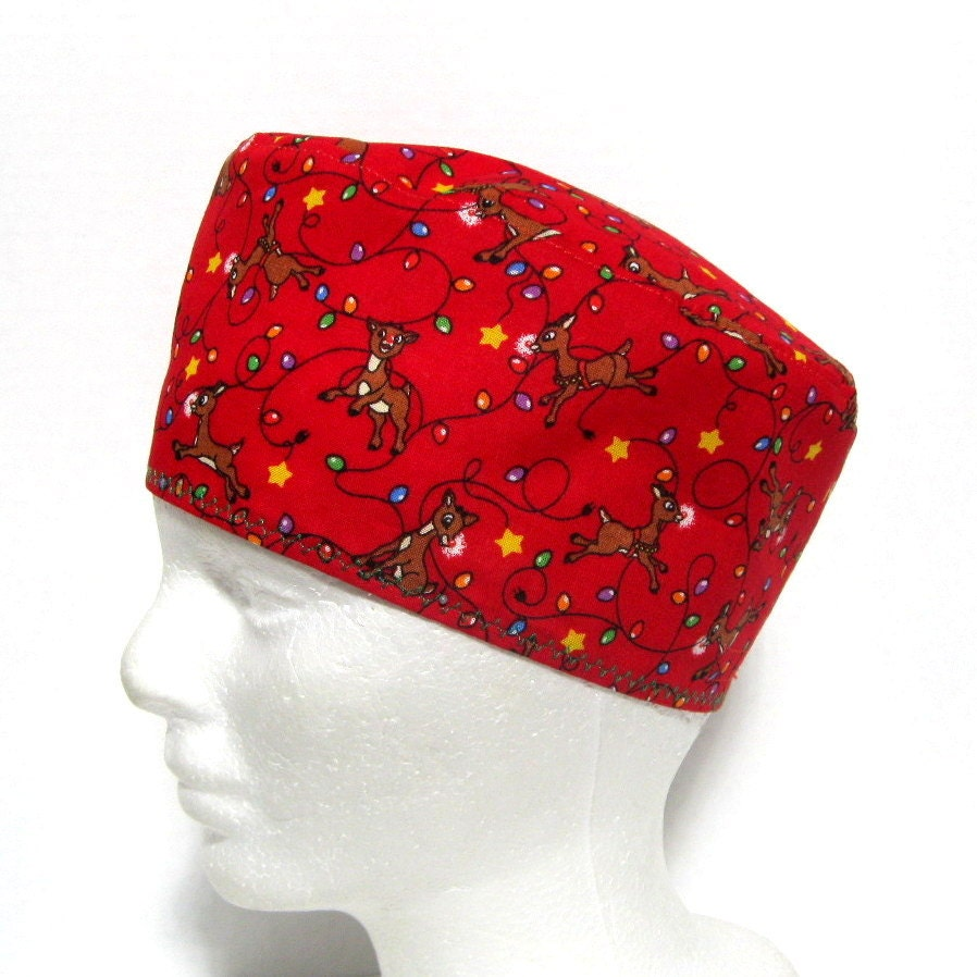 surgical cap or scrub hat mens lights and reindeer