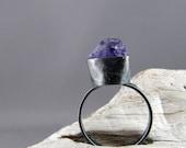 Raw Amethyst Oxidized Sterling Silver Ring
