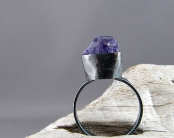 Raw Amethyst Oxidized Sterling Silver Ring