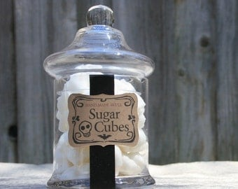"Apothecary Jar - 40 Sugar Skulls Gothic Valentine Gift - 6"" Straight Sided Jar Nightmare Before Christmas"