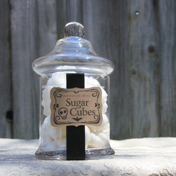 Apothecary Jar - 40 Skull Shaped Sugar Cubes - Small Straight Sided Jar