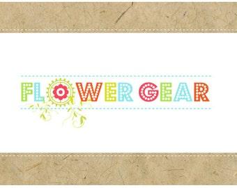 PreMade Logo Design - PreDesigned Logo - Custom Logo Design- Vector Logo - OOAK Logo - FLOWER GEAR Logo Design - Flower Logo - Garden Logo