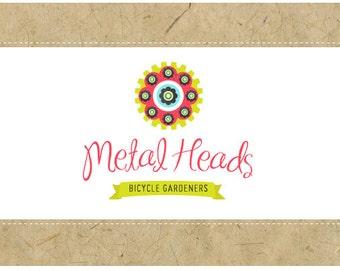 PreMade Logo Design - PreDesigned Logo - Custom Logo Design- Vector Logo - OOAK Logo - METAL HEADS logo - Flower Logo - Whimsical Logo