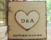 Love Bird Wedding Guest Book - Rustic Medium Wood Guest Sign-In Book with Large Personalized Heart - GoRustic Designs