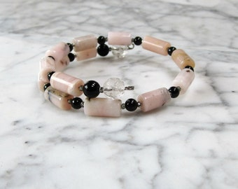 Creative Love - Pink Peruvian Opal, Rainbow Obsidian and Clear Quartz Natural Stone and Crystal Heart Chakra Healing Bracelet