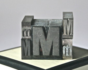 Letter M Antique Printer's Type for Collage Altered Art Printing Stamping