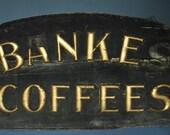 large vintage coffee wood sign