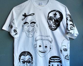 Original Art T-shirt   hand printed 'Monsters'