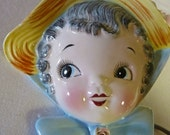 Vintage Lefton Dainty Miss Wall Pocket  - 1956