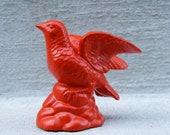 Orange Modern Funky Bird Statue Figurine