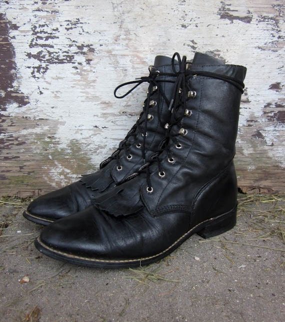 vintage black leather roper boots tall women's 8 1/2 made in the usa rodeo western fringe toe
