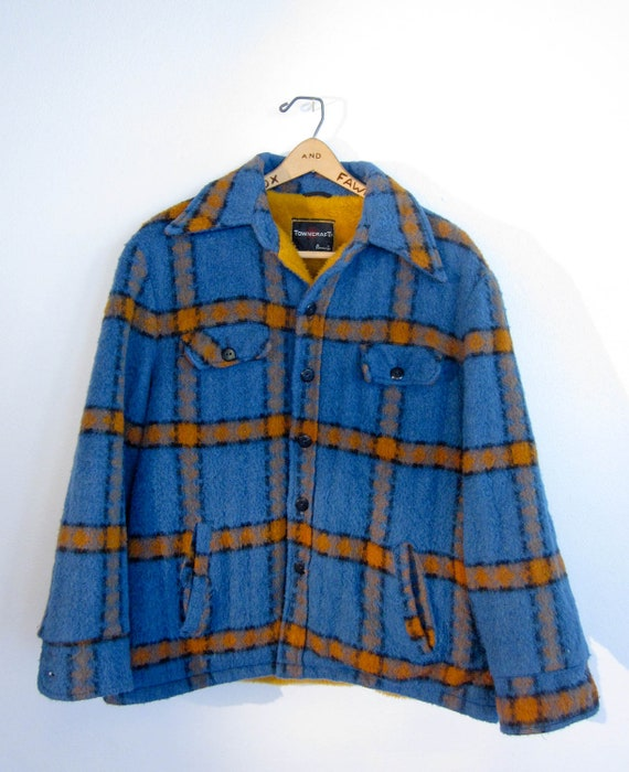 vintage blue and ochre plaid mohair wool coat with mustard lining men's retro rustic winter fall coat