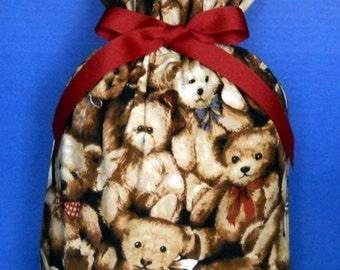 Teddy Bear Medium Fabric Gift Bag - Children s Toy, Stuffed Animal, Brown, Tan, Beige, Red, Blue, All Occasion