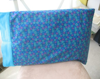 Blue Floral Pillowcase